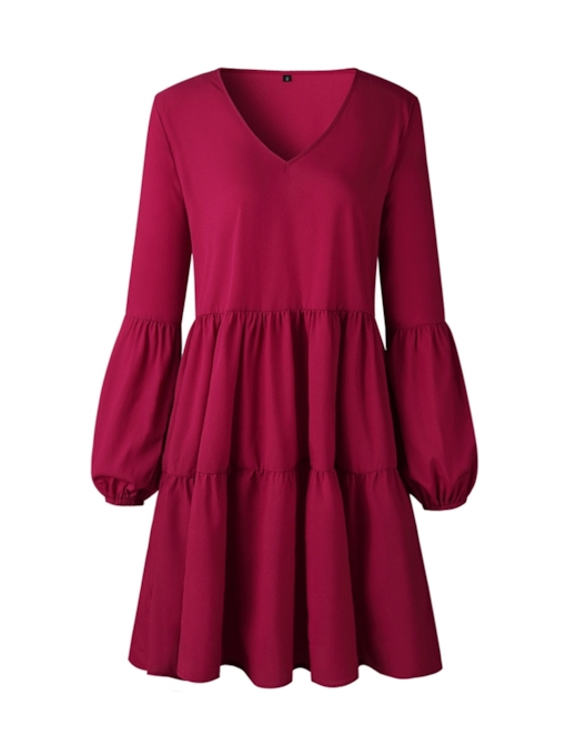Pleated V-Neck A-Line Women's Long Sleeve Dress