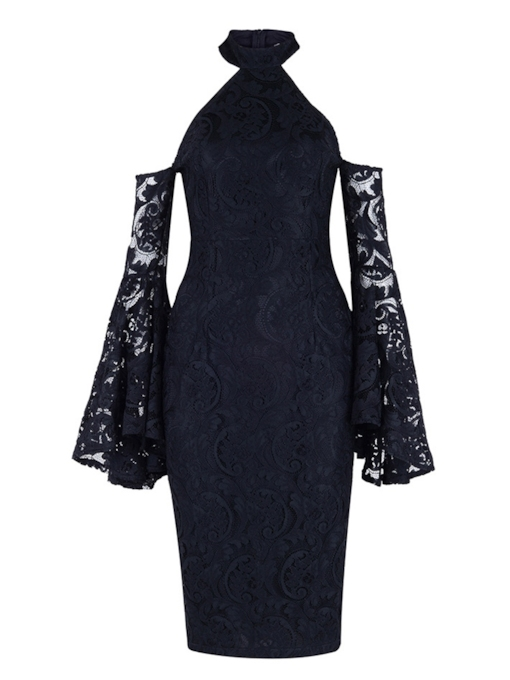 Stand Collar Long Sleeve Pencil Hollow Women's Lace Dress