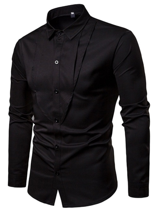 Plain Pleated Lapel Casual Slim Men's Shirt