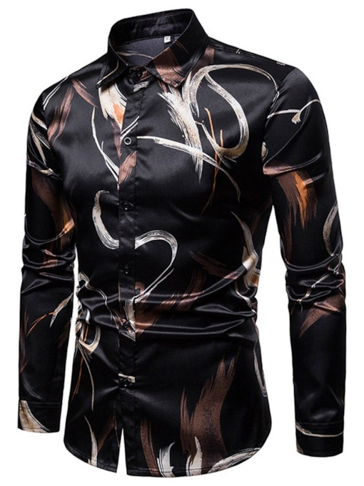 Casual Lapel Slim Print Men's Shirt