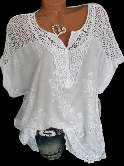 V-Neck Lace Short Sleeve Women's Blouse