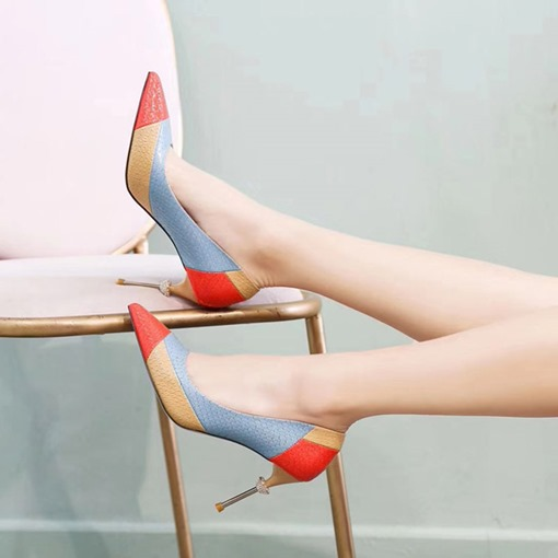 Candy Color Stiletto Heel Slip-On Pointed Toe Color Block Pumps