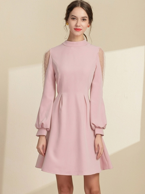 Bowknot Stand Collar Long Sleeve A-Line Women's Day Dress