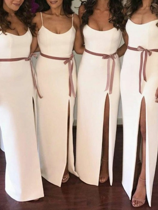 Column Spaghetti Straps Split-Front Bridesmaid Dress