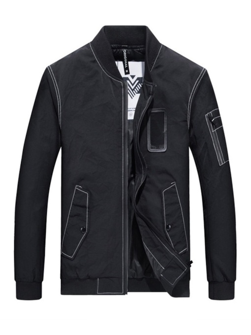Stand Collar Zipper Casual Men's Jacket