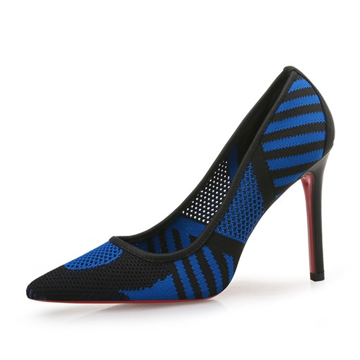 Mesh Hollow Sexy Stiletto Heel Pointed Toe Slip-On Patchwork Pumps