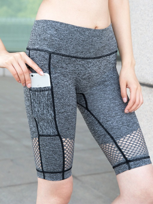 Patchwork Pocket Breathable Women's Sports Shorts