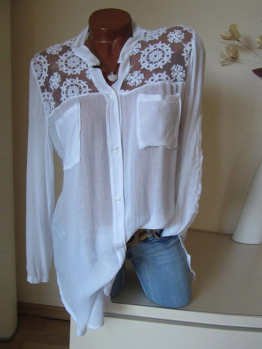 Lace Patchwork Mid-Length Women's Blouse