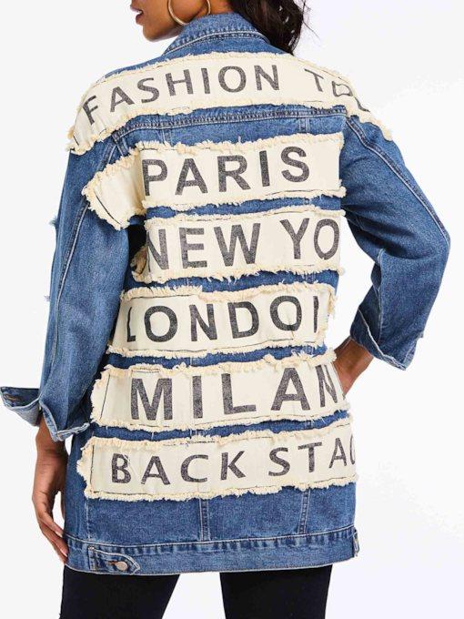 Loose Worn Hole Letter Women's Denim Jacket
