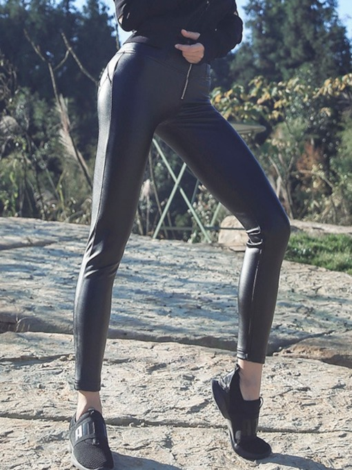 Zipper Pockets Slim Leather Leggings for Women