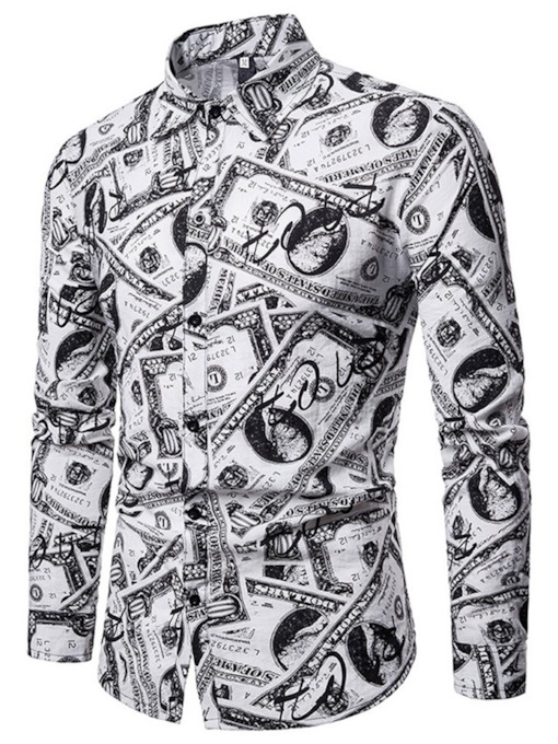 Casual Print Lapel Letter Men's Shirt