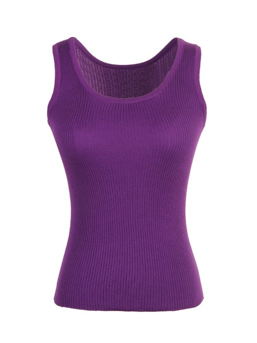 Slim Thread Plain Stretchy Women's Tank Top