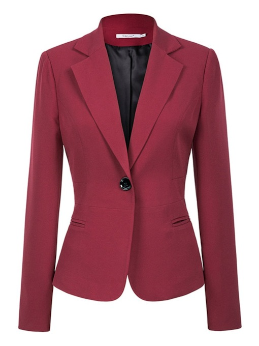 Plain Notched Lapel Long Sleeve Standard Women's Casual Blazer