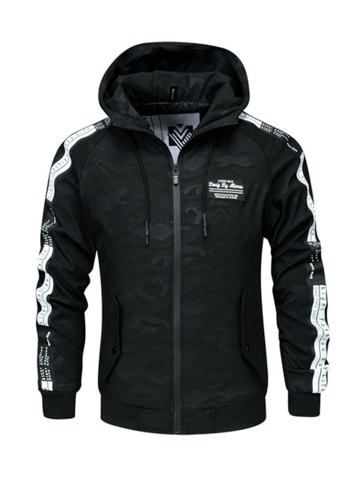 Print Hooded Camouflage Casual Men's Jacket