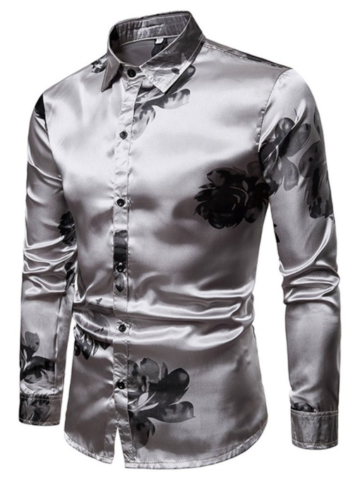 Floral Lapel Print Casual Single-Breasted Men's Shirt