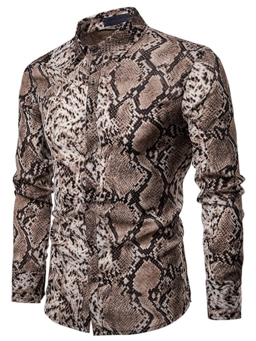 Animal Print Lapel Casual Single-Breasted Men's Shirt