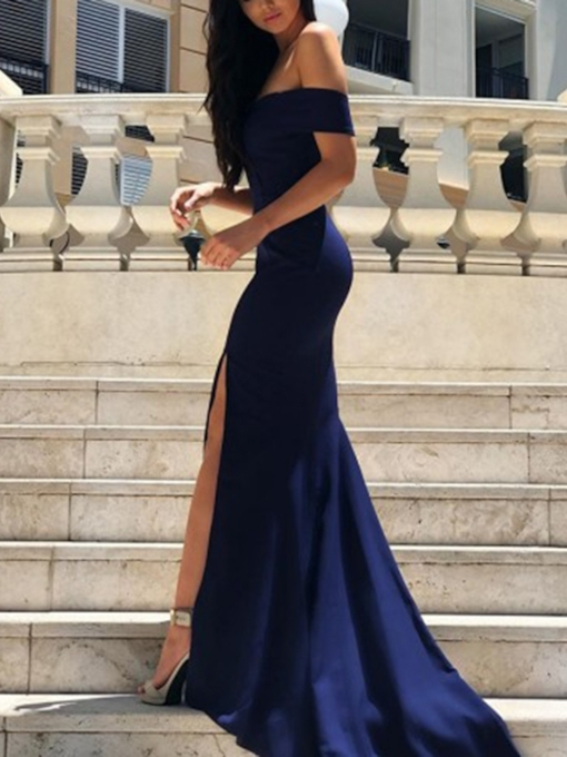 Off the Shoulder Split-Front Mermaid Evening Dress