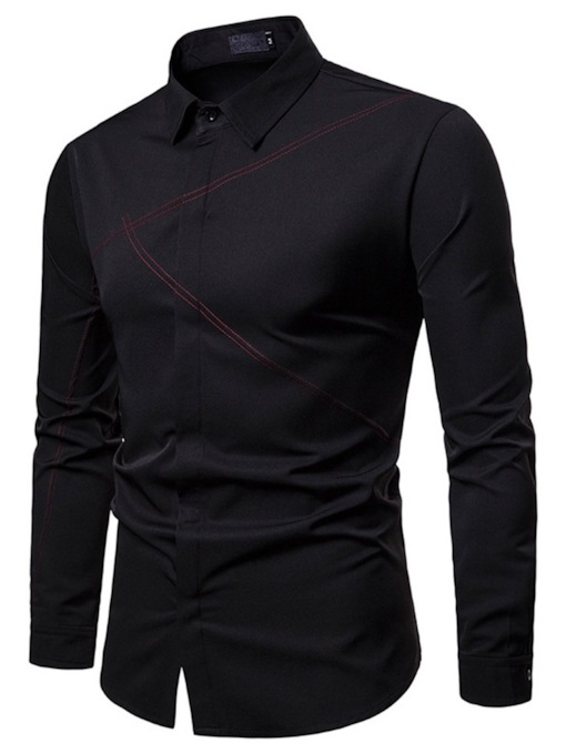 Lapel Casual Plain Men's Shirt