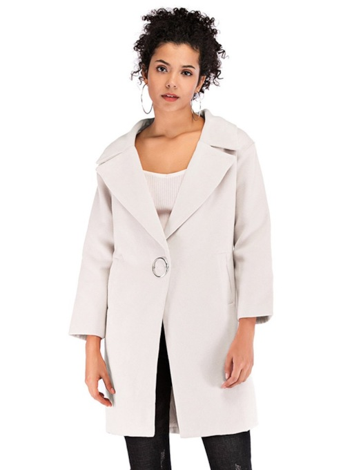 One Button Regular Slim Winter Women's Overcoat