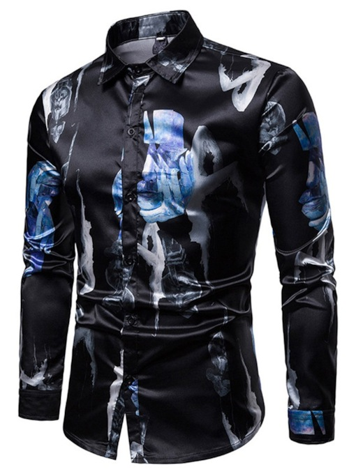 Casual Lapel Print Men's Shirt