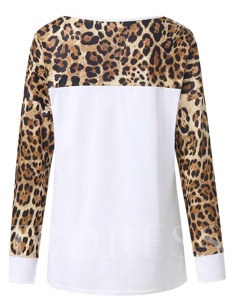 Color Block Mid-Length Leopard Print Women's T-Shirt