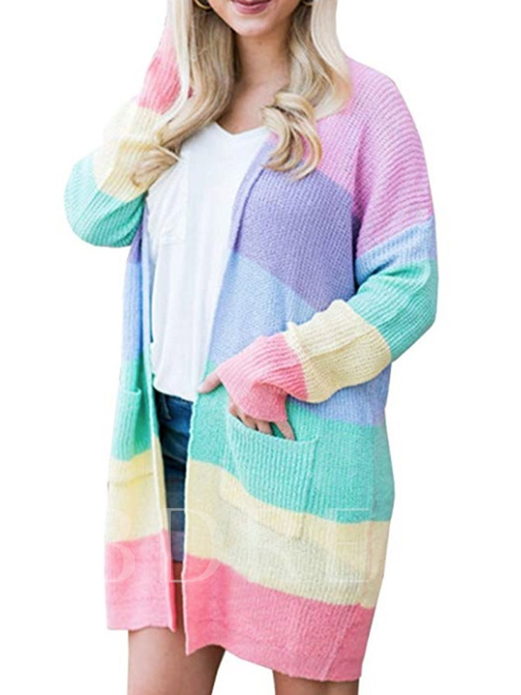 Color Block Loose Mid-Length Women's Cardigan