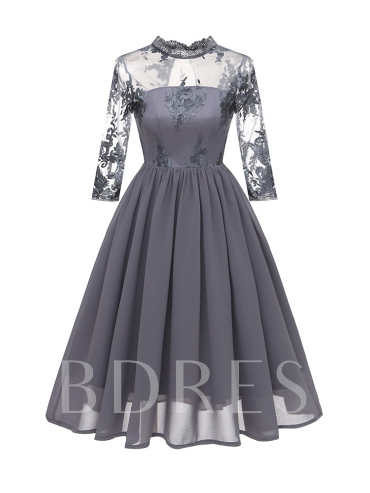 Embroidery Stand Collar Three-Quarter Sleeve Fall Women's Lace Dress