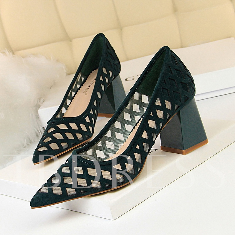 Hollow Sexy Chunky Heel Pointed Toe Slip-On Banquet Women's Pumps