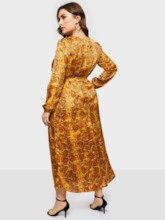 Plus Size Round Neck Long Sleeve Lace-Up A-Line Women's Maxi Dress