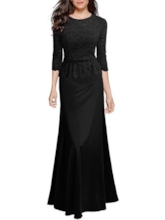 Half Sleeve Falbala Round Neck A-Line Women's Long Sleeve Dress