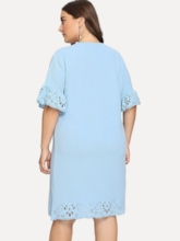 Plus Size Round Neck Hollow Flare Sleeve Women's Day Dress