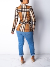 Color Block Stripe Notched Lapel Women's Blazer