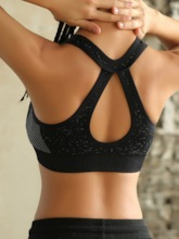 Non-Adjusted Straps Plain Front Zipper Shockproof Sports Underwear