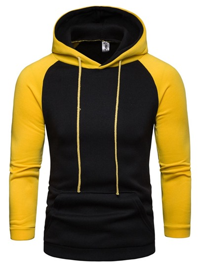 Fleece Patchwork Color Block Pullover Casual Mens Hoodie Fleece Patchwork Color Block Pullover Casual Men's Hoodie