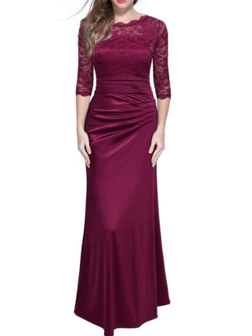 Lace Three-Quarter Sleeve Casual Women's Maxi Dress