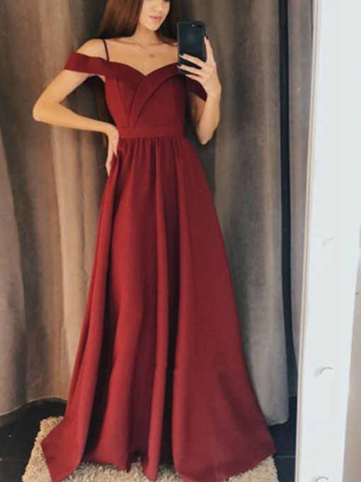 Cap Sleeves Floor-Length Spaghetti Straps A-Line Evening Dress 2019