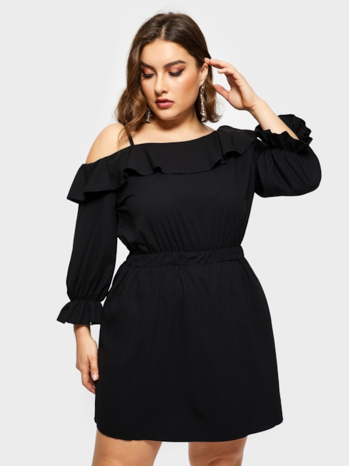 Off Shoulder Patchwork Nine Points Sleeve Women's Long Sleeve Dress
