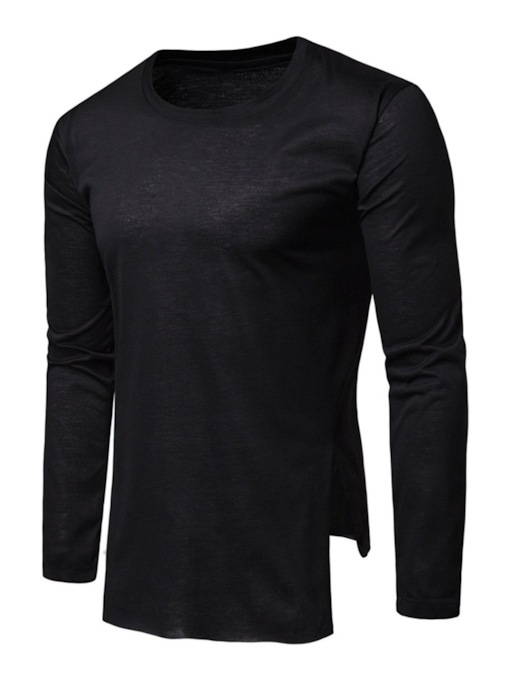 Round Neck Plain Asymmetric Casual Long Sleeve Men's T-shirt