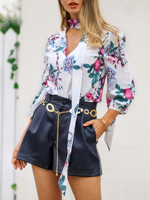 Floral Print V-Neck Three-Quarter Sleeve Women's Blouse