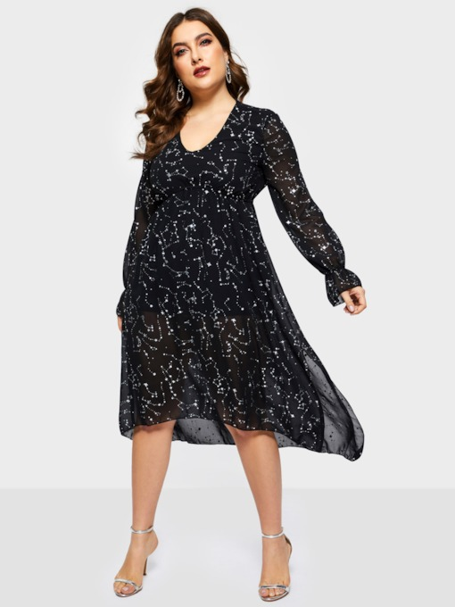 Plus size Long Sleeve V-Neck Asymmetric Pullover Women's Maxi Dress
