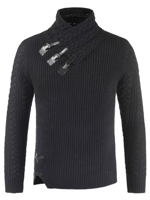 Lapel Standard Asymmetric Casual Men's Sweater