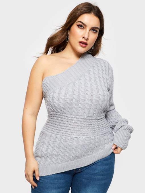 Asymmetric Slim Jacquard Weave Plus Size Women's Sweater