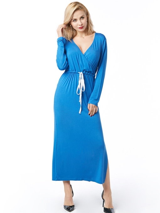 Long Sleeve V-Neck Mid-Calf Lace-Up Pullover Women's Maxi Dress