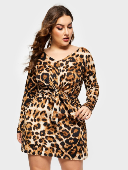 Plus Size Lace-Up Long Sleeve V-Neck Leopard Women's Bodycon Dress
