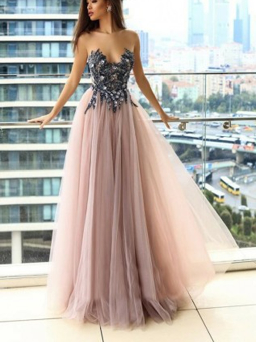 Beading Sleeveless Scoop A-Line Evening Dress