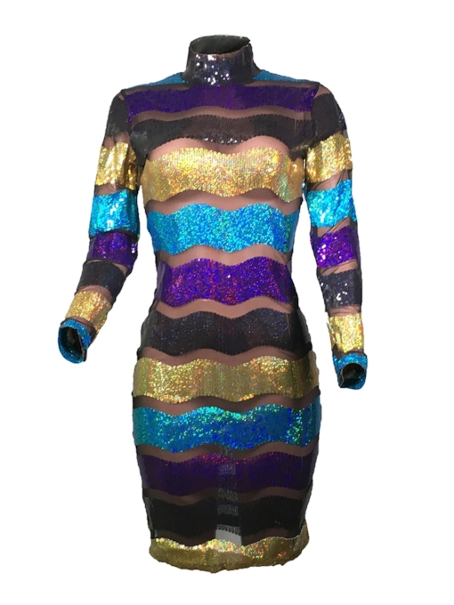 Long Sleeve Stand Collar Sequins Fall Women's Party Dress