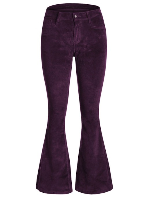Velvet Slim Bellbottoms Women's Casual Pants