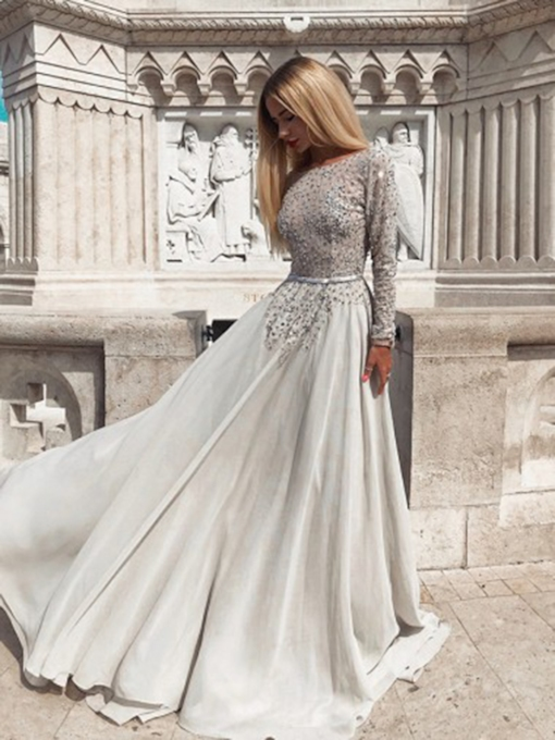 Floor-Length Long Sleeves Bateau Beading Evening Dress 2019