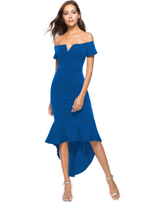 Off Shoulder Short Sleeve Asymmetric Women's Maxi Dress