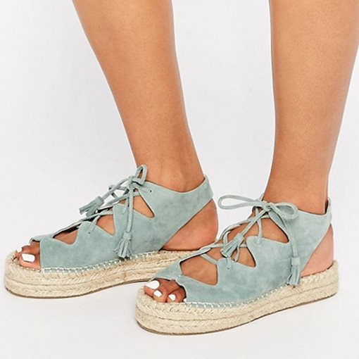 Open Toe Flat With Lace-Up Western Espadrille Sandals